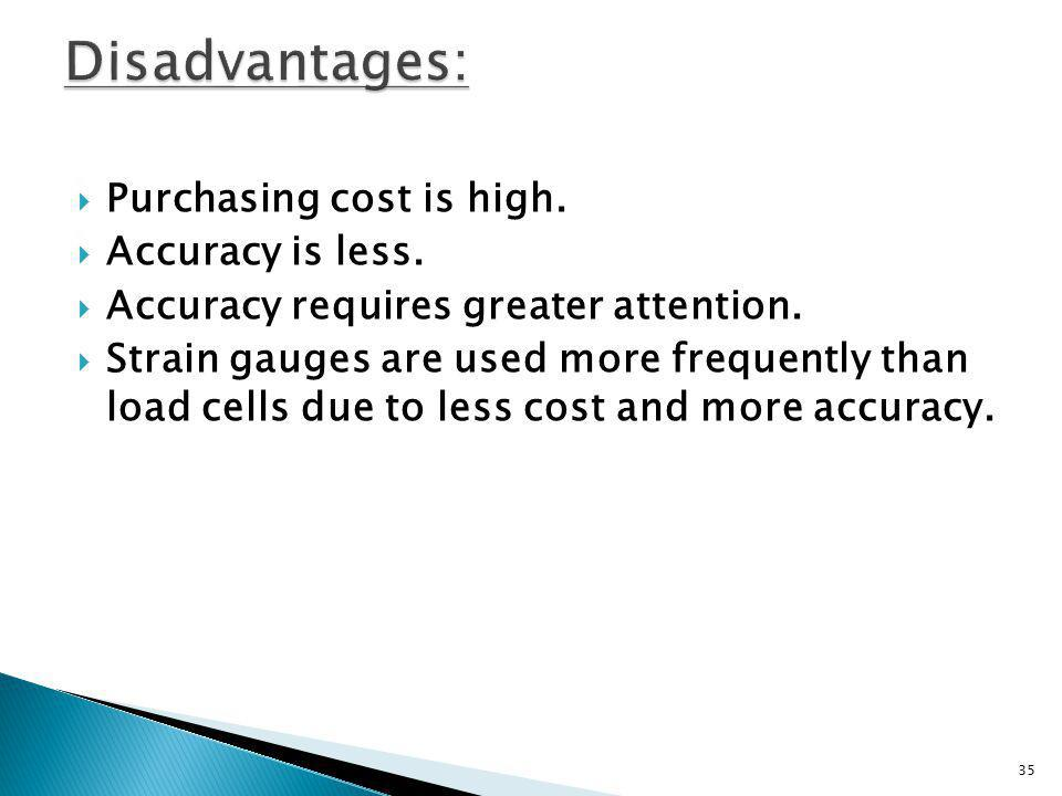 Disadvantages: Purchasing cost is high. Accuracy is less.