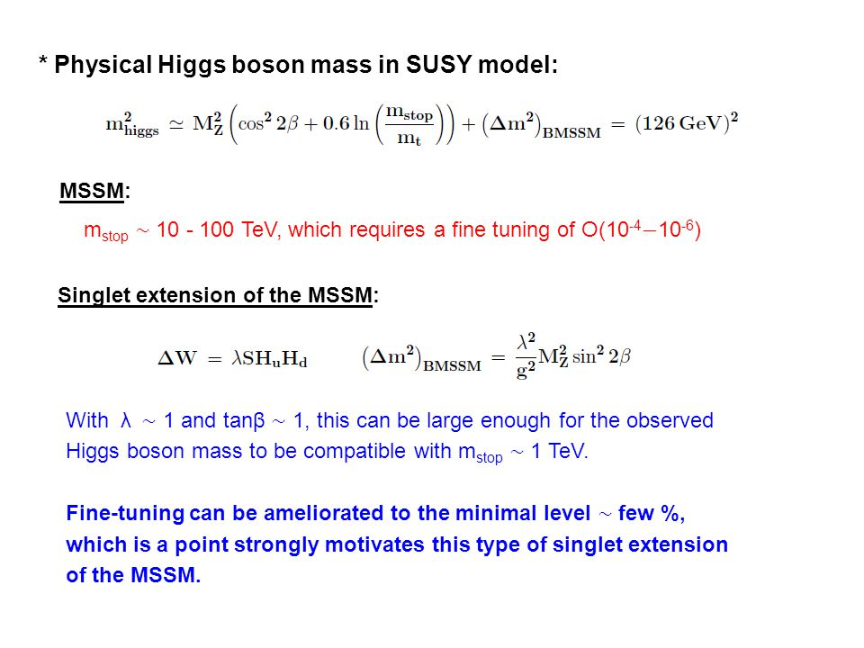 * Physical Higgs boson mass in SUSY model: