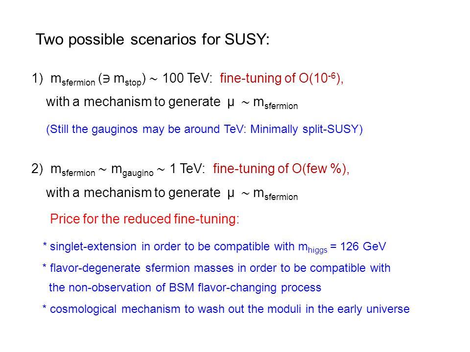 Two possible scenarios for SUSY: