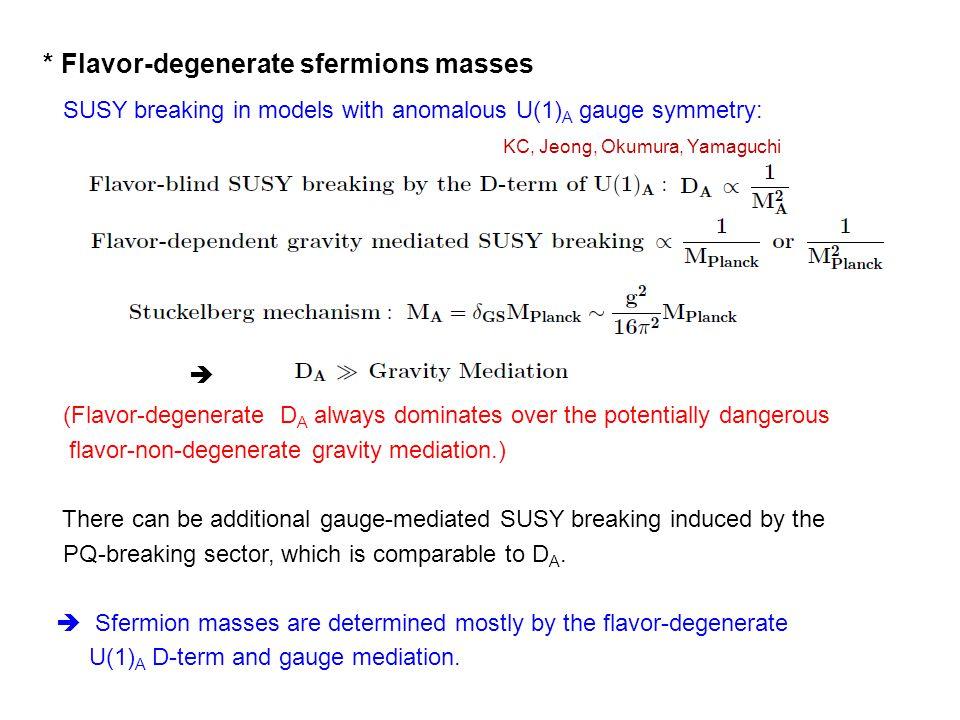 * Flavor-degenerate sfermions masses