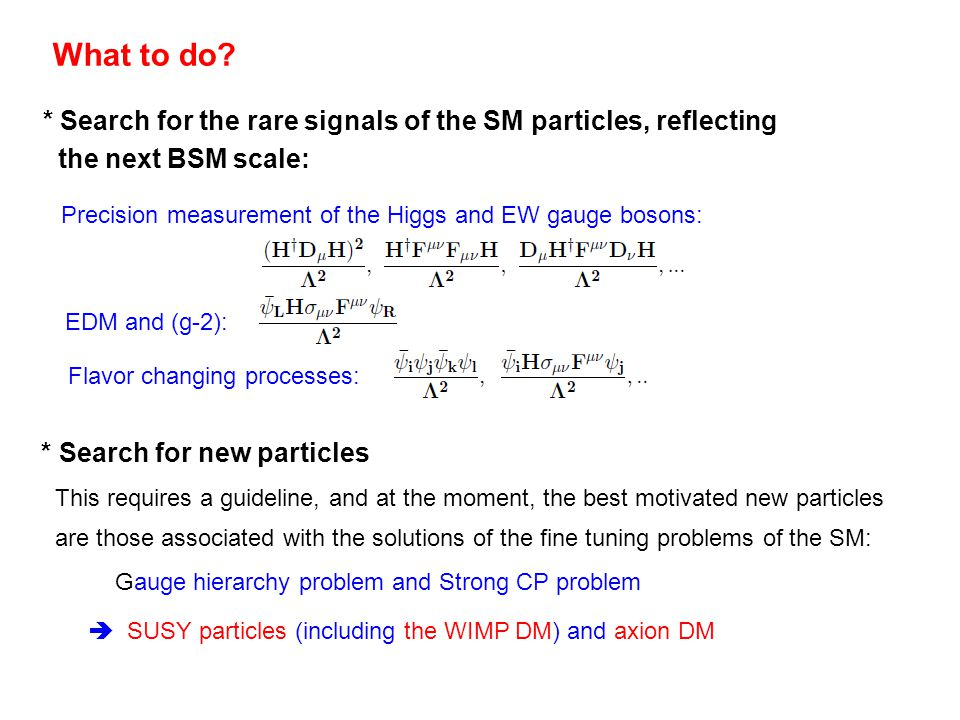 What to do * Search for the rare signals of the SM particles, reflecting. the next BSM scale: