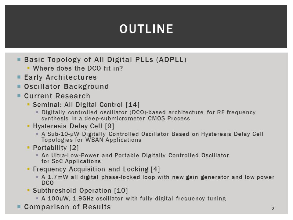 Outline Basic Topology of All Digital PLLs (ADPLL) Early Architectures