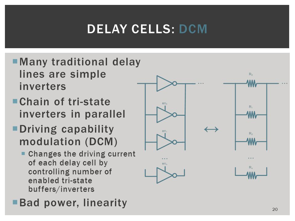 DELAY CELLS: DCM Many traditional delay lines are simple inverters