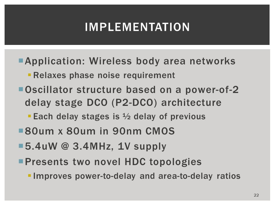 Implementation Application: Wireless body area networks