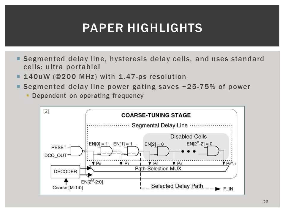 PAPER HIGHLIGHTS Segmented delay line, hysteresis delay cells, and uses standard cells: ultra portable!