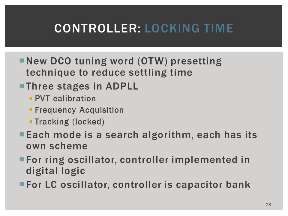 CONTROLLER: LOCKING TIME