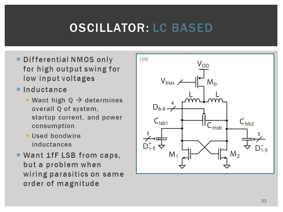 OSCILLATOR: LC Based Differential NMOS only for high output swing for low input voltages. Inductance.