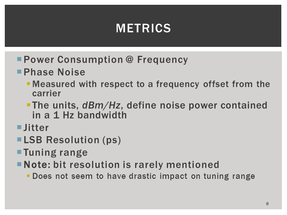METRICS Power Consumption @ Frequency Phase Noise