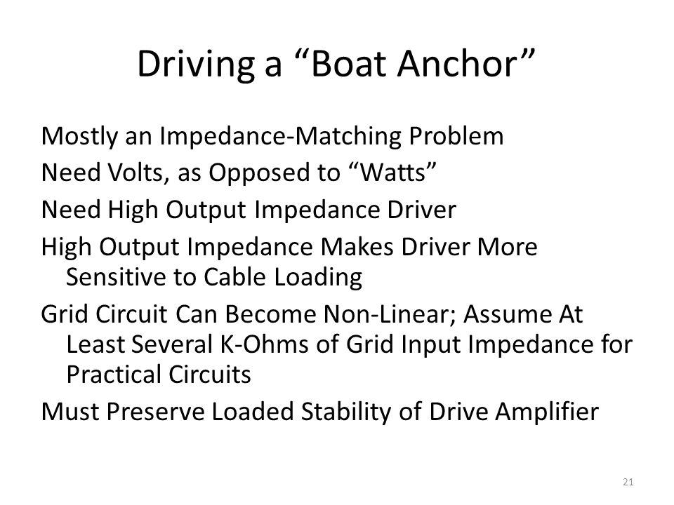 Driving a Boat Anchor
