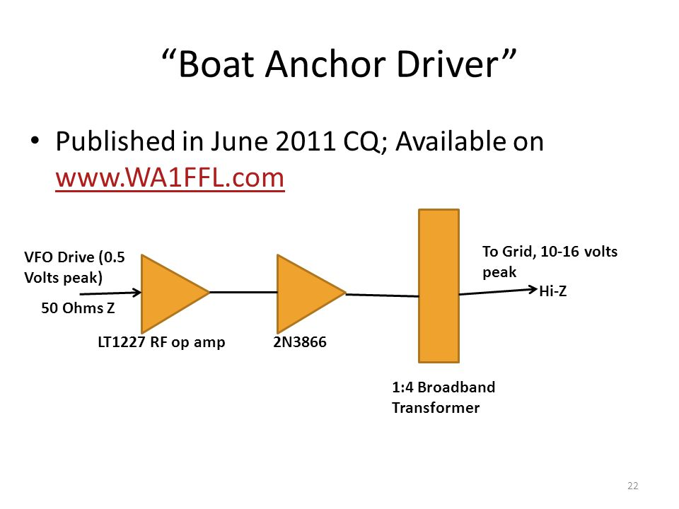 Boat Anchor Driver Published in June 2011 CQ; Available on www.WA1FFL.com. To Grid, 10-16 volts.