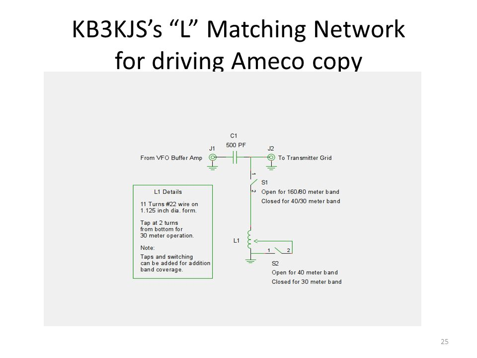 KB3KJS's L Matching Network for driving Ameco copy