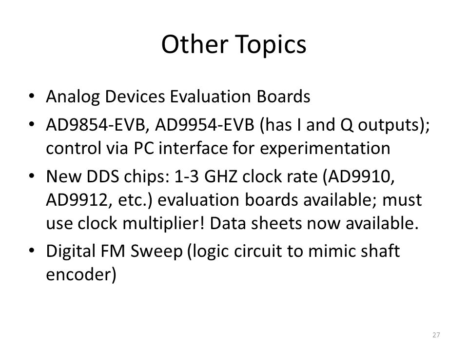 Other Topics Analog Devices Evaluation Boards