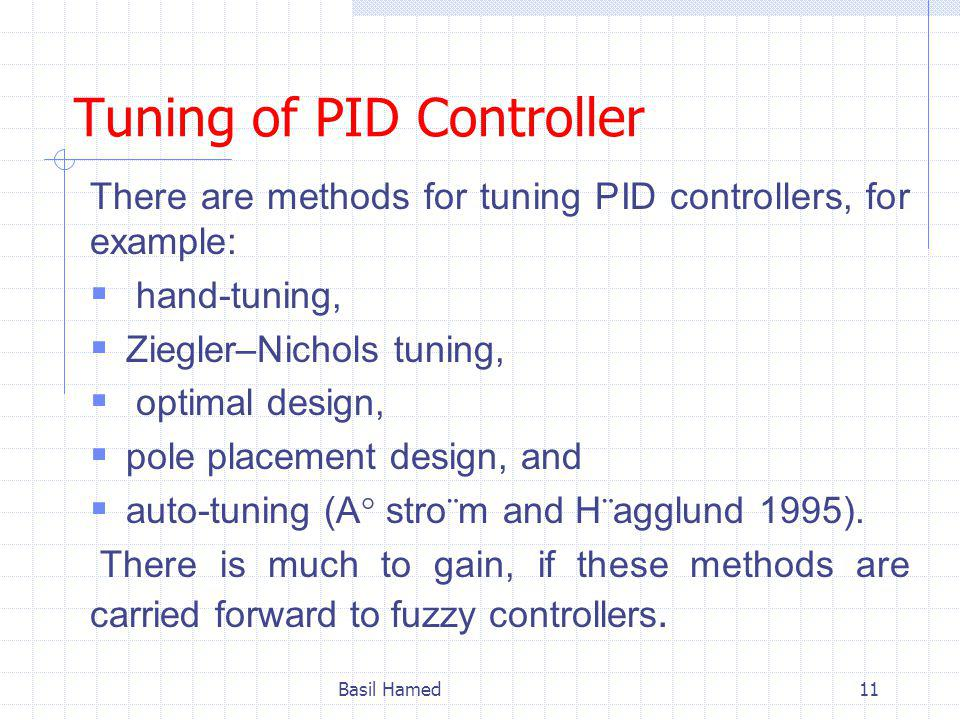 Tuning of PID Controller