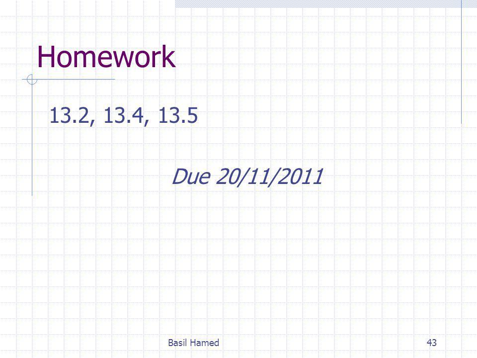 Homework 13.2, 13.4, 13.5 Due 20/11/2011 Basil Hamed