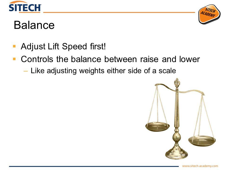 Balance Adjust Lift Speed first!