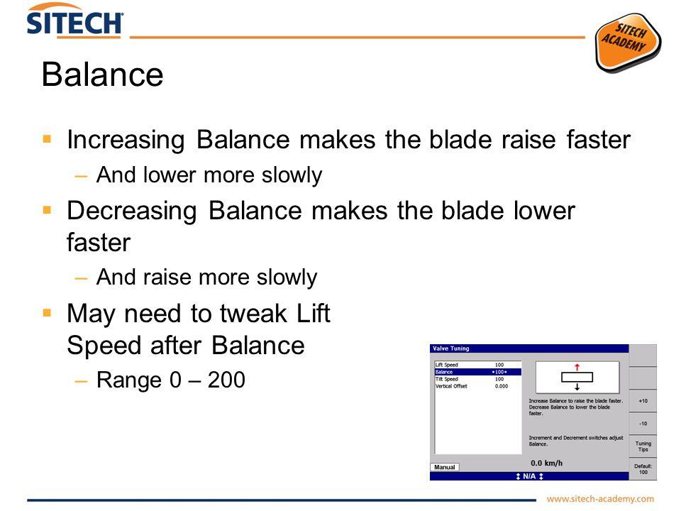 Balance Increasing Balance makes the blade raise faster