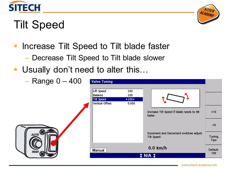 Tilt Speed Increase Tilt Speed to Tilt blade faster