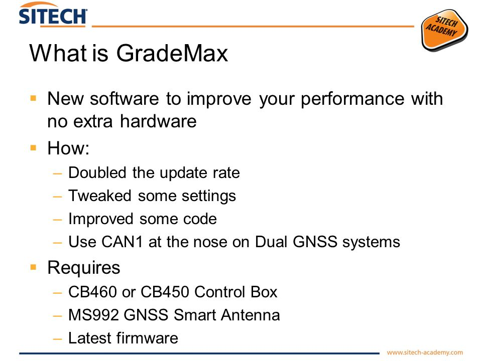 What is GradeMax New software to improve your performance with no extra hardware. How: Doubled the update rate.