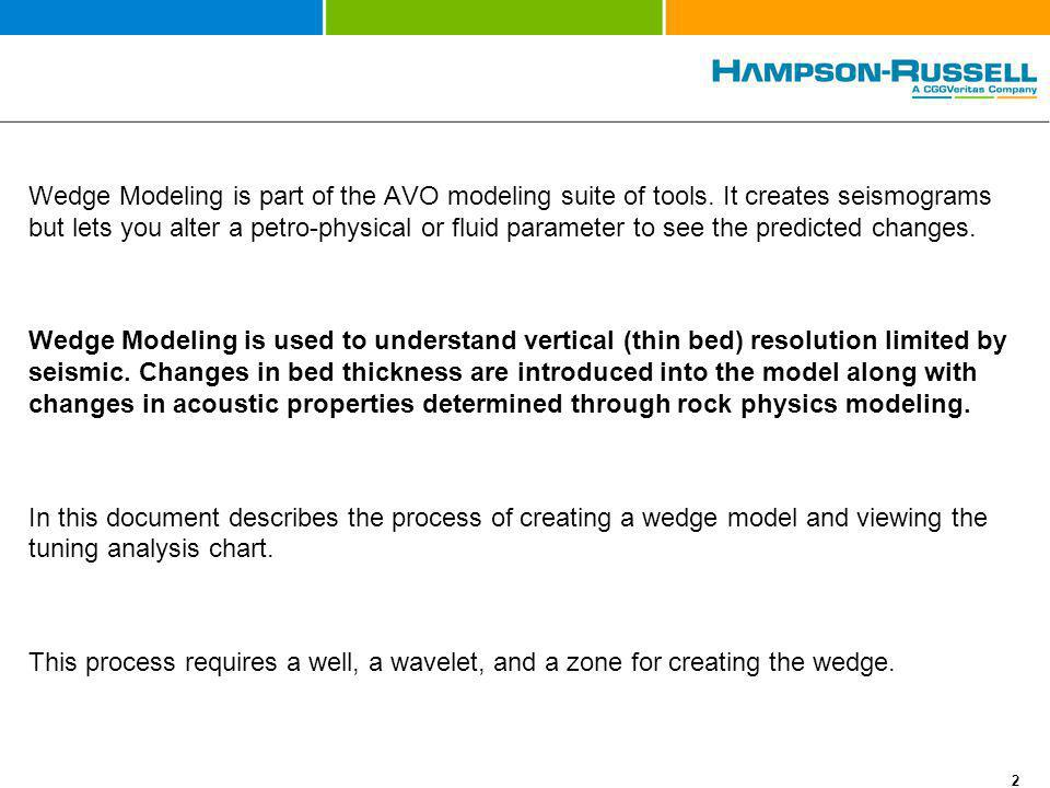 Wedge Modeling is part of the AVO modeling suite of tools