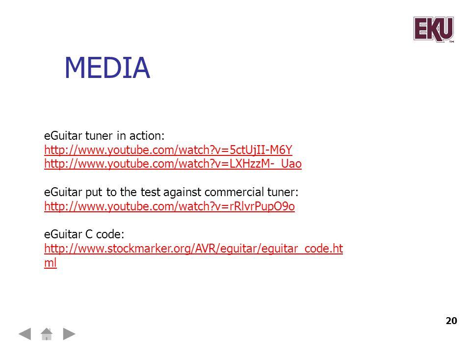 media eGuitar tuner in action:
