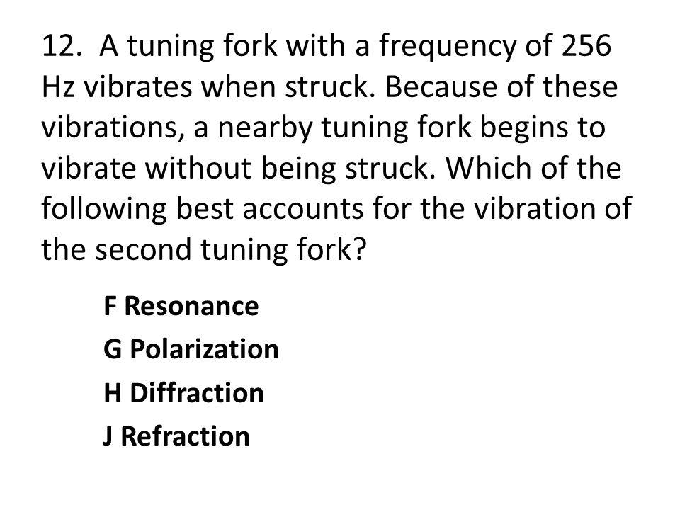 12. A tuning fork with a frequency of 256 Hz vibrates when struck