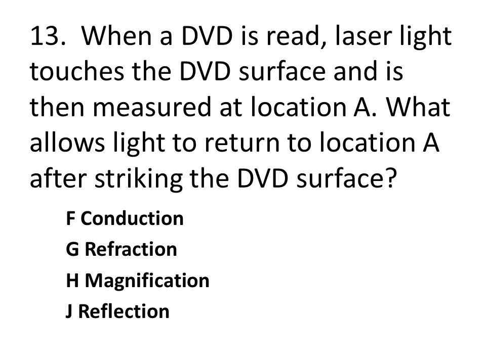 13. When a DVD is read, laser light touches the DVD surface and is then measured at location A. What allows light to return to location A after striking the DVD surface