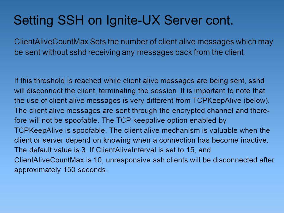 Setting SSH on Ignite-UX Server cont.