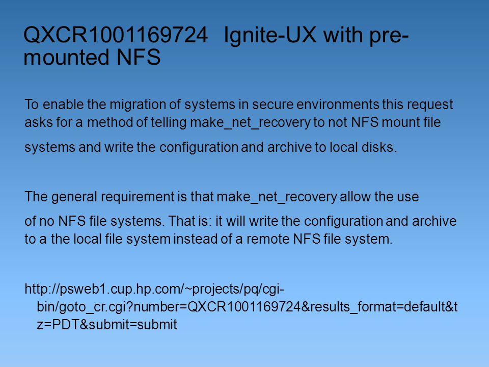 QXCR1001169724 Ignite-UX with pre-mounted NFS
