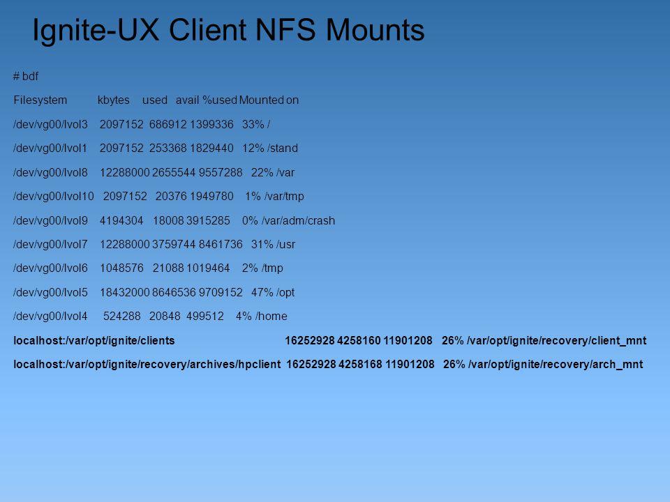 Ignite-UX Client NFS Mounts