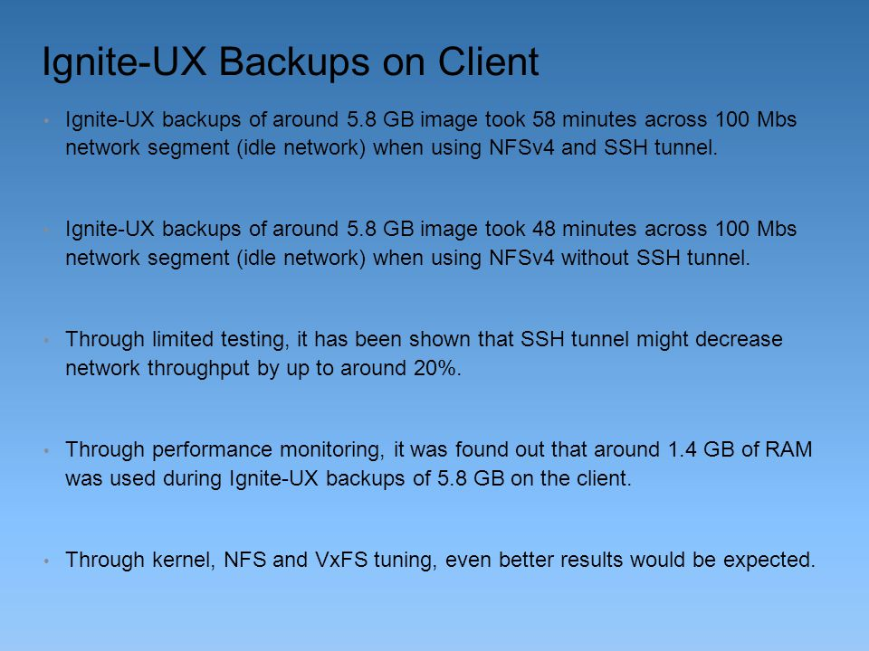 Ignite-UX Backups on Client