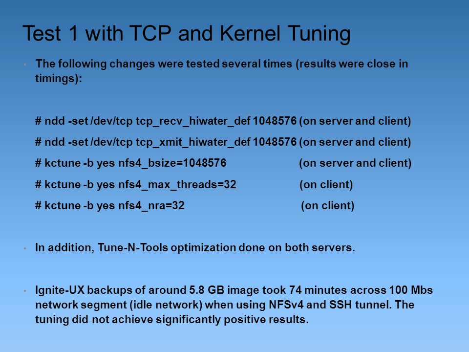Test 1 with TCP and Kernel Tuning