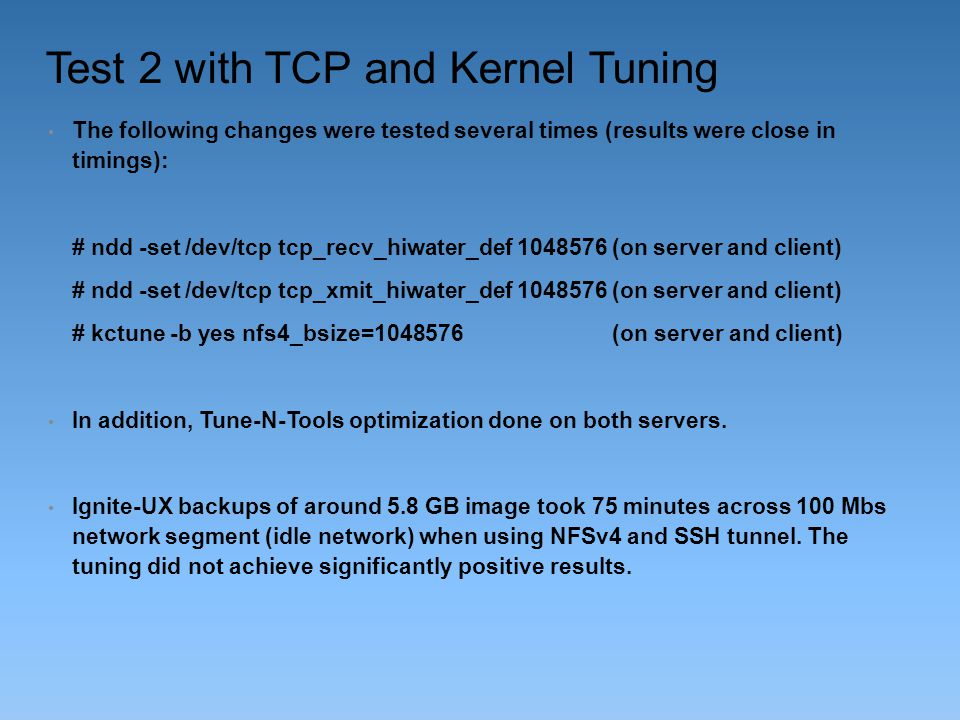 Test 2 with TCP and Kernel Tuning