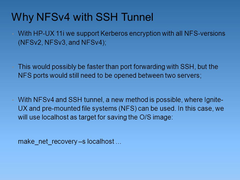 Why NFSv4 with SSH Tunnel