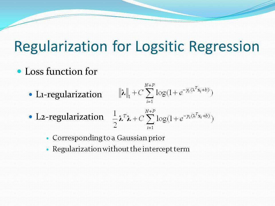 Regularization for Logsitic Regression