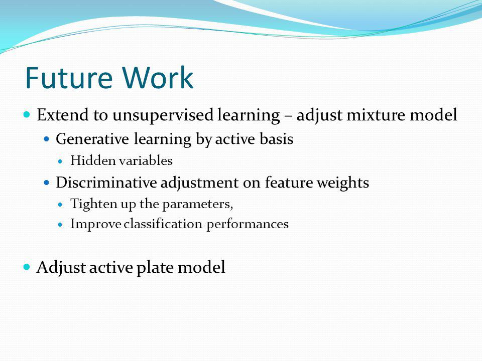 Future Work Extend to unsupervised learning – adjust mixture model