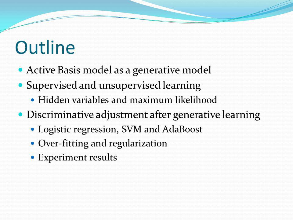 Outline Active Basis model as a generative model