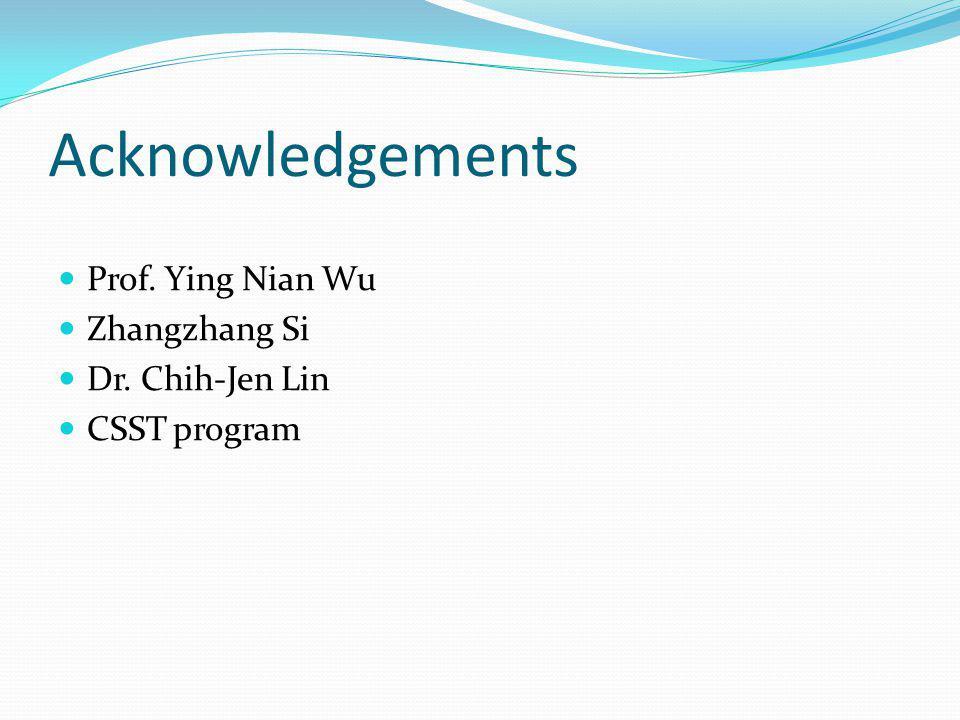 Acknowledgements Prof. Ying Nian Wu Zhangzhang Si Dr. Chih-Jen Lin