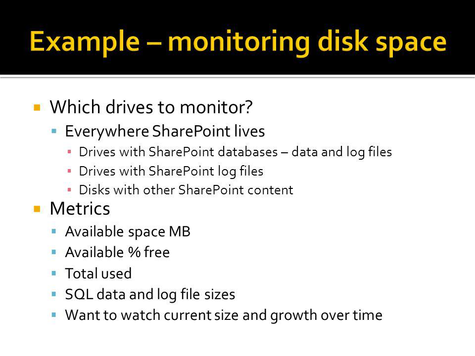 Example – monitoring disk space