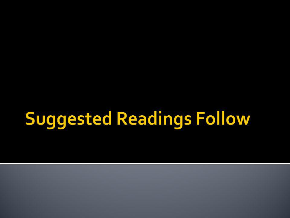 Suggested Readings Follow