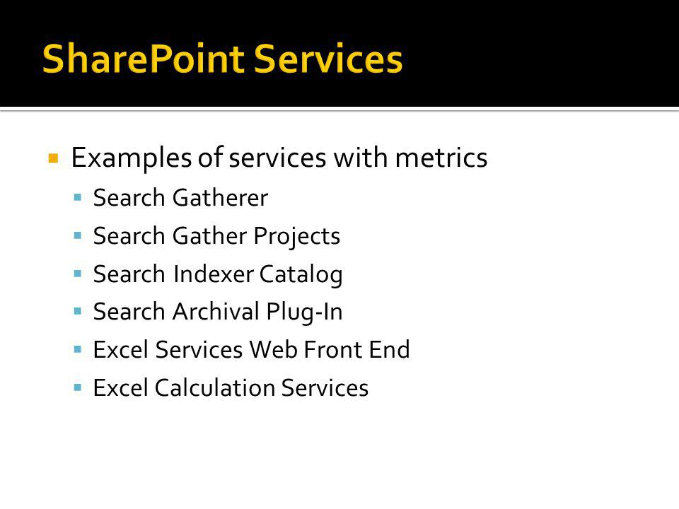 SharePoint Services Examples of services with metrics Search Gatherer
