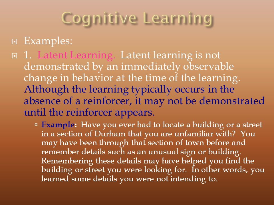 Cognitive Learning Examples: