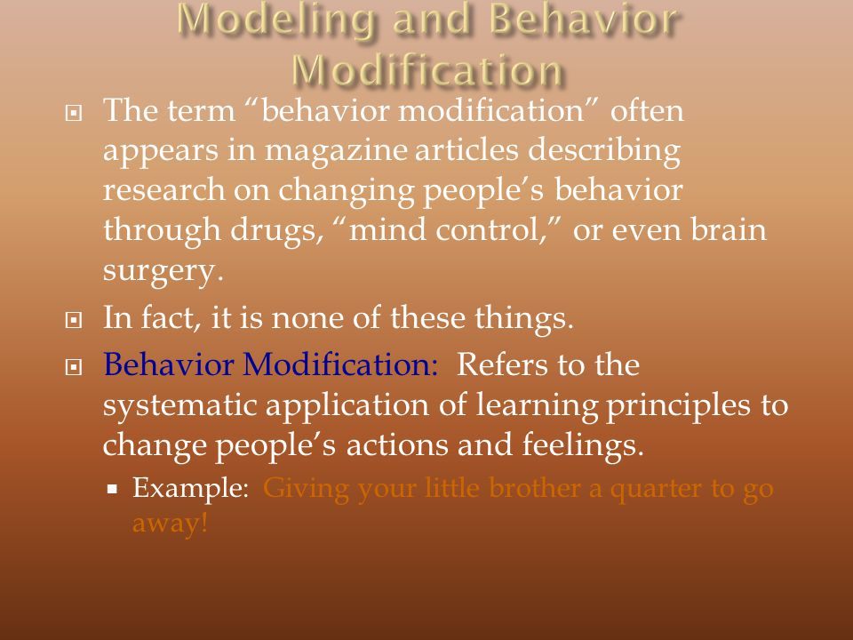 Modeling and Behavior Modification