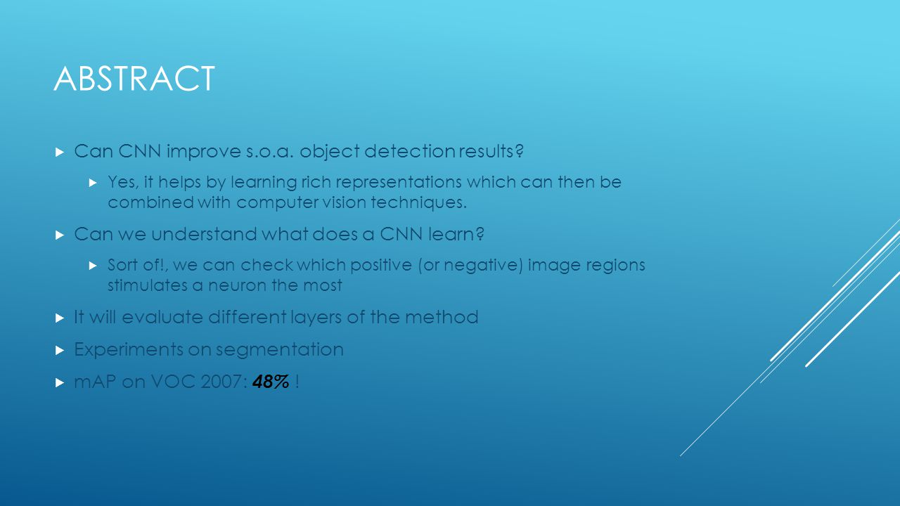 Abstract Can CNN improve s.o.a. object detection results