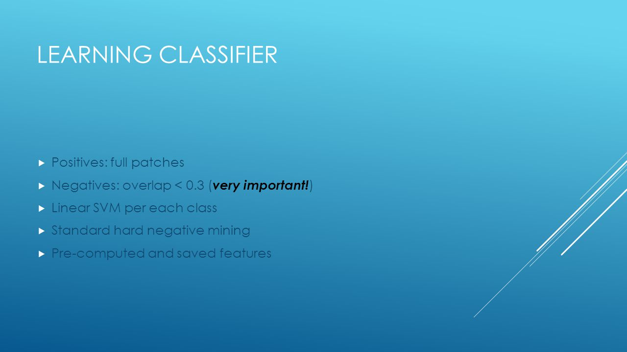 Learning Classifier Positives: full patches