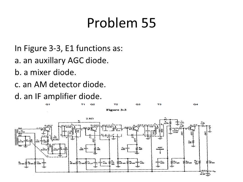 Problem 55 In Figure 3-3, E1 functions as: a. an auxillary AGC diode.