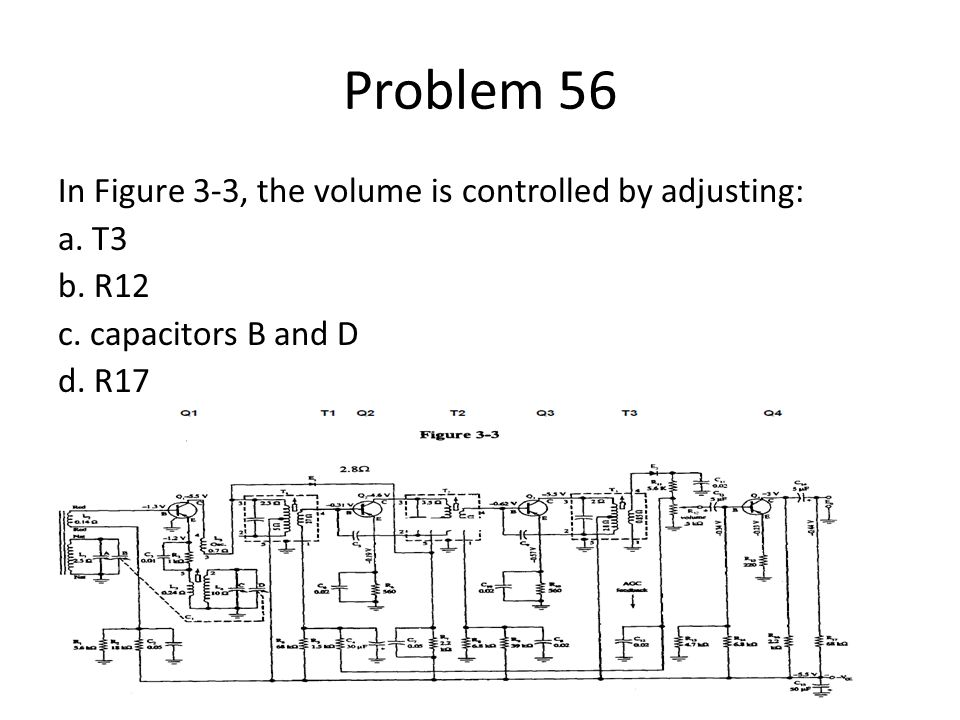Problem 56 In Figure 3-3, the volume is controlled by adjusting: a.