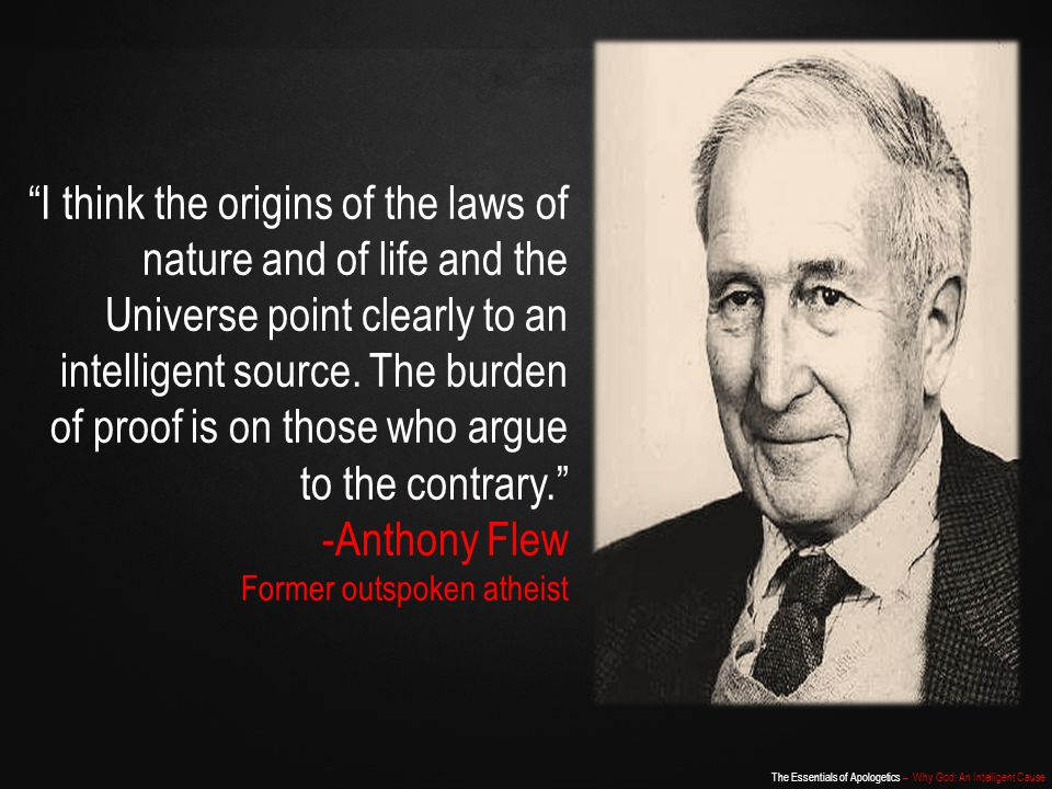 I think the origins of the laws of nature and of life and the Universe point clearly to an intelligent source. The burden of proof is on those who argue to the contrary.