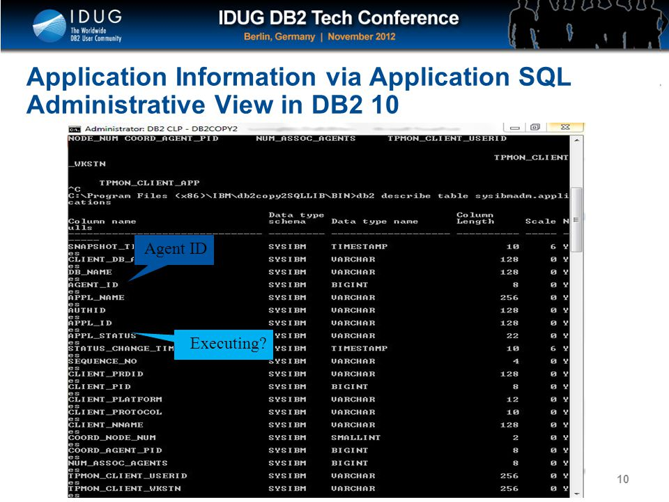 Application Information via Application SQL Administrative View in DB2 10