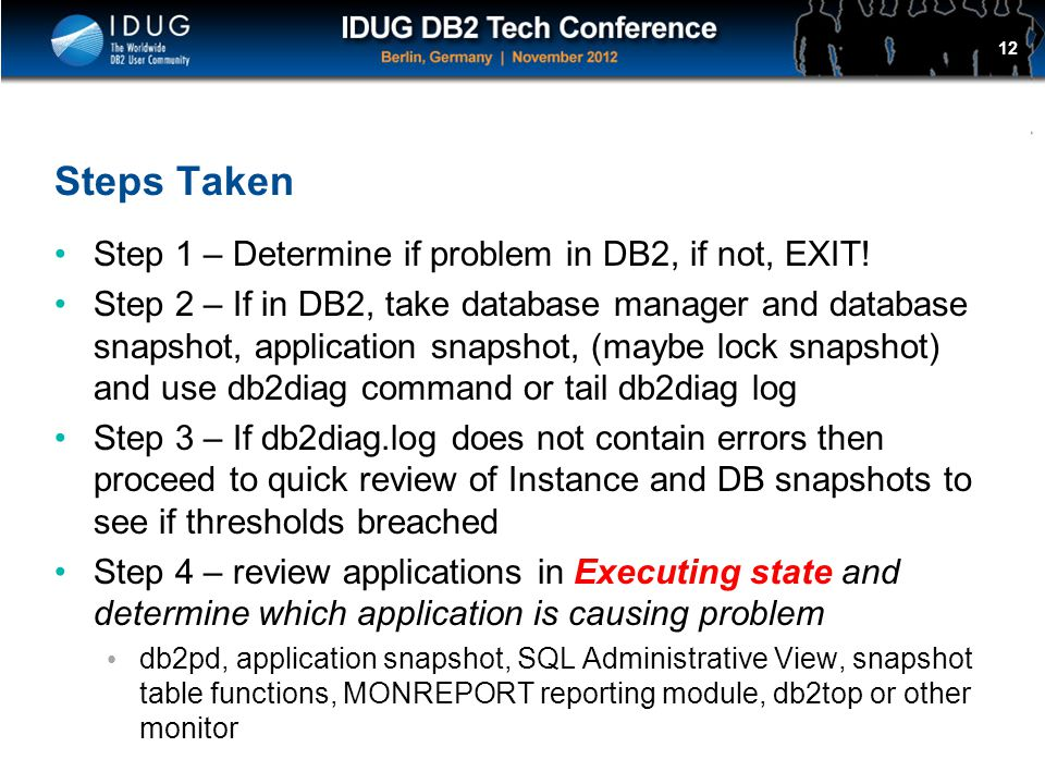 Steps Taken Step 1 – Determine if problem in DB2, if not, EXIT!