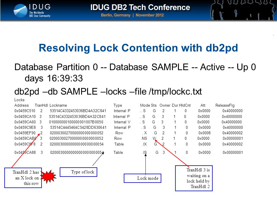 Resolving Lock Contention with db2pd